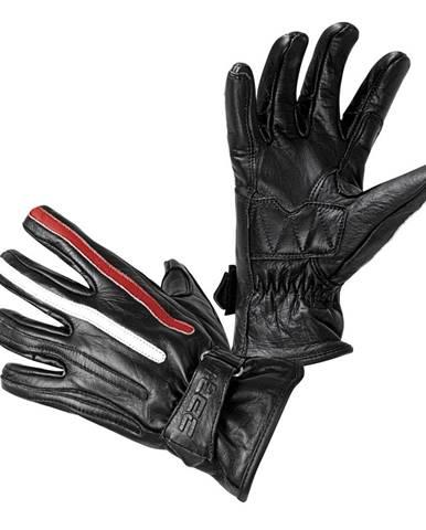 Moto rukavice W-TEC Classic Jawa čierna s červeným s béžovým pruhom - S