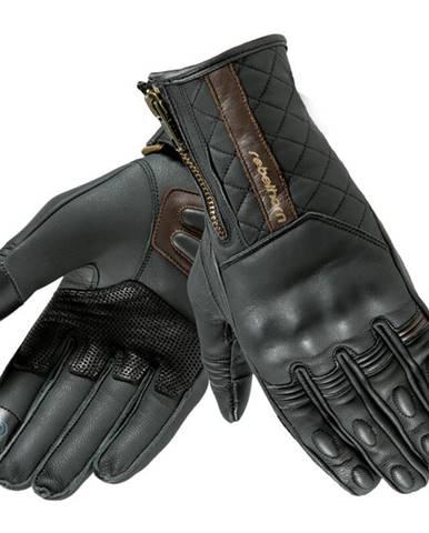 Kožené moto rukavice Rebelhorn Opium II Retro Lady CE čierna - XS